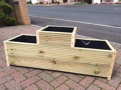 STEPPED WOODEN DECKING  TROUGH - GARDEN PLANTER PLANT POT BOX