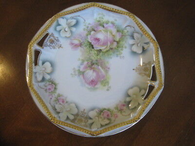 VINTAGE P.K. SILESIA DECORATIVE BONE CHINA PLATE WITH GOLD EDGES