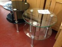 New Glass Side End Lamp Tables in Black or Clear Glass only £17 each