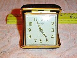 Vintage BRADLEY Japan Portable Travel Alarm Clock Gold Tone New Mechanical