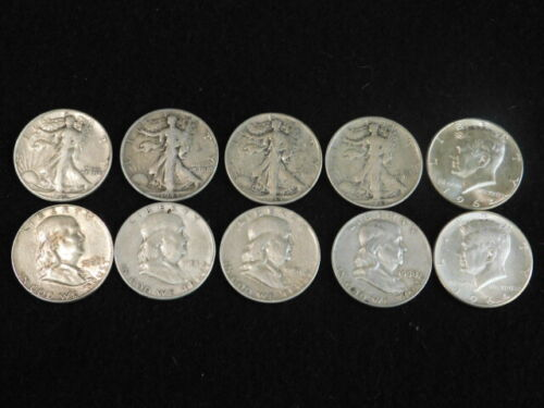 90% SILVER HALF DOLLARS MIXED VARIETY $5 FACE WALKERS, FRANKLIN ,KENNEDY L2