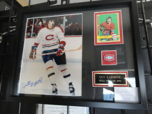 Guy Lapointe Canadiens autographed 8x10 framed w/vintage card