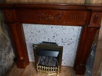 FIRE SURROUND WITH MARBLE HEARTH AND GAS FIRE