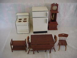 DOLL HOUSE Handmade WOOD FURNITURE Stove+Frig+Table+Chairs+Clock+Serving cart