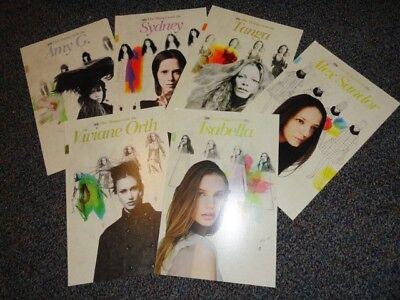 Model agency card lot of 6 Vogue Elle models Isabella Oberg Viviane Orth fashion