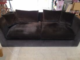 HABITAT MINKY-BROWN JOSEPH VELVET THREE-SEATER SOFA