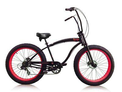 "26"" Micargi Slugo Cruiser w 26x4.0 Fat tires 7 speed matte black w red rims"