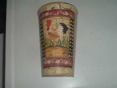 Metal Vintage Rustic Hand Painted Rooster Basket Hanging Wall Pocket