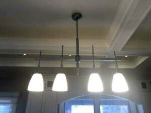 Kitchen island or pool table silver/chrome light fixture