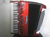 ROLAND DIGITAL FR-7 V-ACCORDION. As new with FBC-7 food pedal/DC power/battery charger unit.