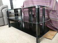 'Reduced' Black Glass 3 Shelves TV Stand / Unit