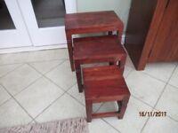 Rustic Dark Wood Nest of Tables