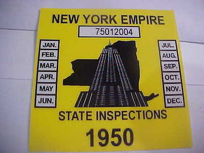 new york 1950 inspection sticker windshild
