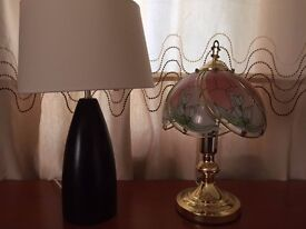 Cream/brown lamp and glass coloured lamp both good working order