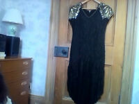 Black silk fully beaded evening dress see measurements below