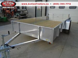 12' ALUMINUM UTILITY - SOLID SIDES, BIFOLD RAMP GATE - SALE!