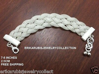 BRACELET WOVEN BRAIDED .925 STERLING SILVER PLATED SZ 8 -