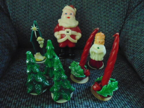 Vintage Christmas Candle Collection Gurley Candle Company Lot of 8