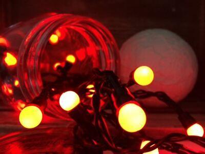50 LED White Coloured Large Berry String Hanging Christmas Lights Static Xmas Uk ()