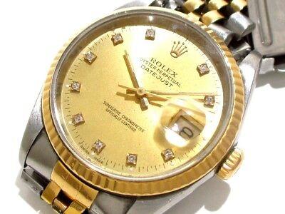 Auth ROLEX Datejust 16233G Silver 18K Yellow Gold Men