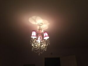 3 light crystal chandelier pink and white