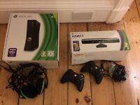 x box 360 console with kinect in box with three controllers