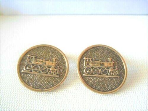 Vintage Old Button Style Bronzetone Locomotive Cufflinks
