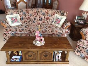 Couch, coffee table, two end tables, Sony tv