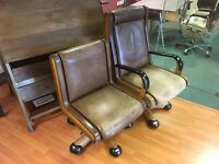 2 x Italian Leather Office Chairs