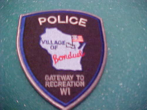 VILLAGE OF BONDUEL WISCONSIN POLICE PATCH SHOULDER SIZE UNUSED