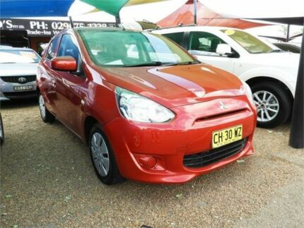 2014 Mitsubishi Mirage LA MY14 ES Red 1 Speed Constant Variable Hatchback Minchinbury Blacktown Area Preview