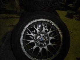 "GENUINE BMW 16"" ALLOY WHEELS & TYRES x 4 - £125ono"