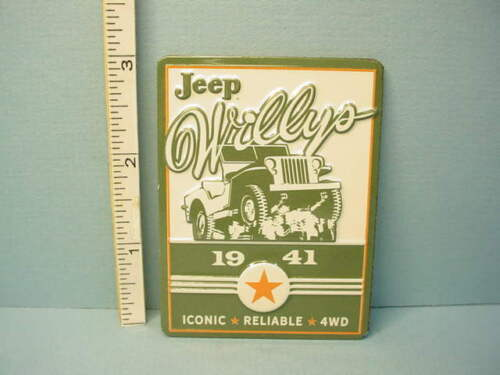 """Miniature  """"Willys Jeep""""  Advertising Sign Metal 1/12th Scale"""