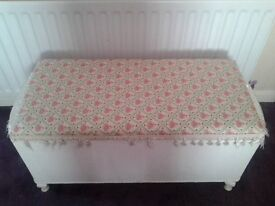 White vintage Lloyd Loom style ottaman newly covered