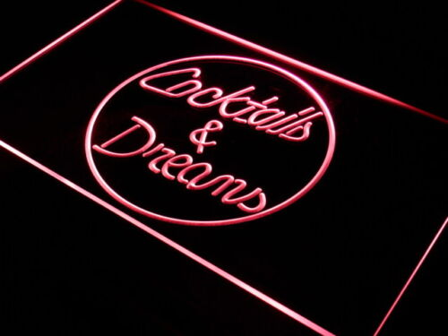 i336-r Cocktails & Dreams Wine Shop NEW Neon Light Sign