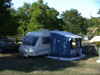 Caravan Awning: Trio, Used on 2 holidays. Lightweight Aluminium Poles, Ground Sheet and Curtains.