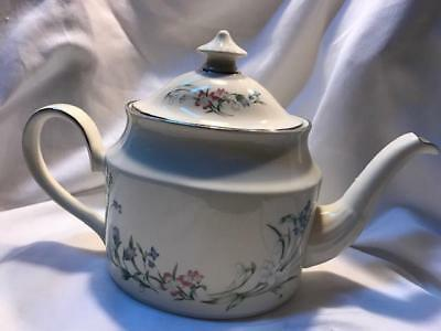 Minton Brookwood Fine Bone China Platinum Trim Tea Pot & Lid By Royal Doulton
