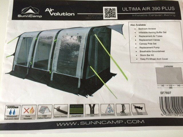 Sunncamp Air Volution 390 Plus Awning With Additional Full Set Of