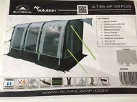 Sunncamp Air Volution 390 plus Awning with additional full set of infatable storm bars