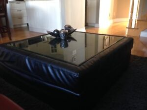 Black Leather Coffee Table with glass