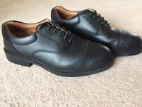 STEEL TOE CAP SHOES, SIZE 10, BLACK, WORN ONLY ONCE - 20.00