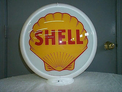 gas pump globe SHELL reproduction 2 glass lens in a white plastic body NEW