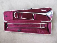 Besson London 600 Trombone in rare Silver plate & music stand