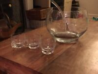 Glass punch bowl, ladle and 12 glasses