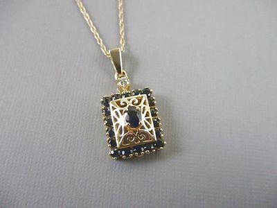 "14K Yellow Gold 0.57 CTW Sapphire And Diamond Pendant 18"""
