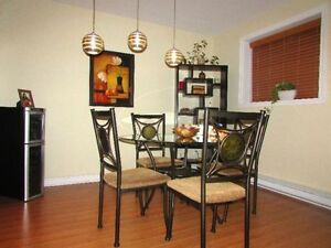 Glass Dining table with 4 chairs (set)