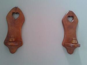 Pair of Countrystyle Wall Mounted Wooden Candle Holder