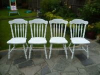 4 x White Shabby Chic Country Cottage Wooden Chairs up-cycled in chalk paint