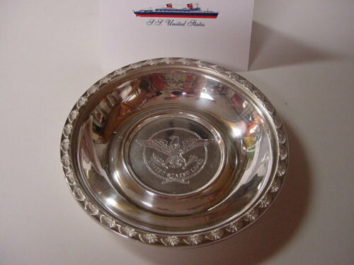 SS UNITED STATES LINES  Silver Bowl w/Manhattan Pattern  /  Top Condition