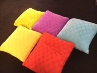 5 x colourful duck feather cushions green blue yellow purple red